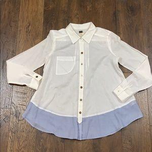 Free People White Button Pintuck Shirt w/Blue Hem